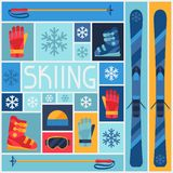 Sports background with skiing equipment flat icons Stock Photography