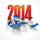 Sports background with a soccer ball. Sports background with ribbon and a soccer ball. Brazil 2014 Royalty Free Stock Photos