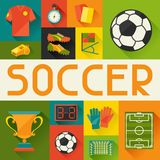 Sports background with soccer (football) flat Stock Images