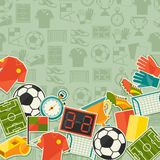 Sports background with soccer (football) sticker Stock Photos
