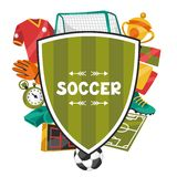 Sports background with soccer football symbols Royalty Free Stock Images