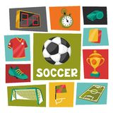 Sports background with soccer football symbols Stock Photography