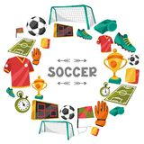 Sports background with soccer football symbols Stock Photos