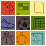 Sports background with soccer football symbols Royalty Free Stock Photos