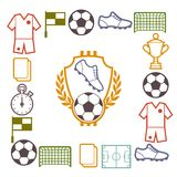 Sports background with soccer football symbols Stock Photo