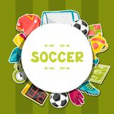 Sports background with soccer sticker symbols Stock Photos