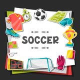Sports background with soccer sticker symbols Royalty Free Stock Photos