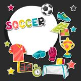 Sports background with soccer sticker symbols Royalty Free Stock Images