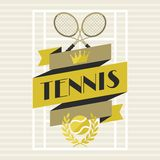 Sports background with tennis in flat design style Stock Photography