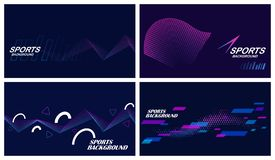 Sports backgrounds in dark colors. Set of four dark abstract sports backgrounds in blue and purple colors vector illustration