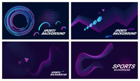 Sports backgrounds in dark colors. Set of four dark abstract sports backgrounds in blue and purple colors royalty free illustration