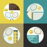 Sports backgrounds with tennis icons in flat Stock Image