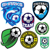Sports badge with a soccer ball and shark for the team, colored vector illustration Royalty Free Stock Image