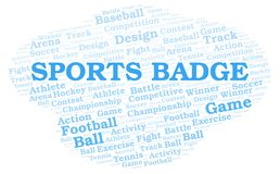 Sports Badge word cloud. Wordcloud made with text only stock illustration