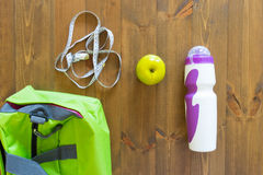 Sports bag and food Stock Photo