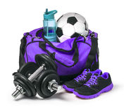 Sports bag with sports equipmen Royalty Free Stock Photography