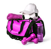 Sports bag with sports equipment. Isolated on white with clipping path Stock Images