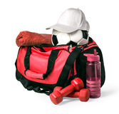 Sports bag with sports equipment. Isolated on white with clipping path Stock Photography