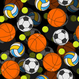 Sports ball 3d seamless pattern. Balls decoration. Basketball and football. Tennis and volleyball. Sports volume background Stock Image