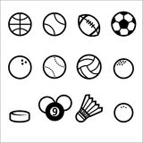 Sports Ball Icon set, line style. Various balls, sports ball icon, simple icon Stock Photo