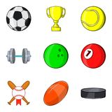 Sports ball icons set, cartoon style Stock Images