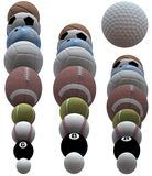 Sports Ball Row Borders. Sports ball rows as borders. 3D render. Pool, baseball, tennis, football, volleyball, bowling, soccer, basketball & a golf ball to show royalty free illustration