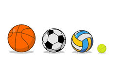 Sports ball set. Basketball and football. Tennis and volleyball. Stock Photo