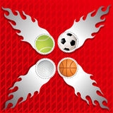Sports Ball in Silver flames crept on graphics Royalty Free Stock Photography