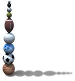 Sports Ball Stack Background. Stack of golf, pool, baseball, tennis, football, volleyball, bowling, soccer, basketball balls team up to form a background vector illustration