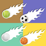 Sports Ball in white flames Stock Images