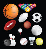 Sports balls. Detailed set of sports ball on black background Royalty Free Stock Image