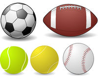 Sports balls. This is an illustration of a variety of sports balls Royalty Free Stock Photo