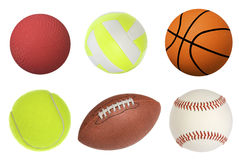 Sports balls. Six sports balls inclusing a dodgeball, volleyball, basketball, tennis ball, football and baseball isolated on white and at full native resolution Royalty Free Stock Photography