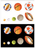 Sports Balls. Collection of sports balls isolated both on black and white background Royalty Free Stock Photography