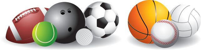 Sports Balls. Picture of a football, tennis ball, bowling ball, golf ball, soccer ball, basketball, baseball, and a volleyball Stock Images