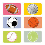 Sports balls. Sports ball on squares with different color Royalty Free Stock Image