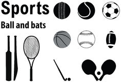 Sports balls and bats. Vector design silhouette of various sports balls and bats Royalty Free Stock Photos