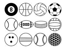 Sports balls black and white Stock Image