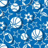 Sports balls in blue and white seamless pattern Royalty Free Stock Images