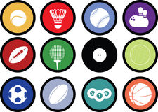 Sports balls button set. Detailed illustration of a series of world wide sports Stock Photo