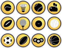 Sports balls button set Stock Photo