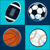 Sports balls children seamless pattern Royalty Free Stock Photos