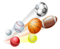 Sports balls concept. Illustration of a lots of sports ball dynamically flying through the air with motion blur Royalty Free Stock Image