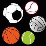 Sports balls. Different sports balls on black background Stock Photos