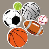 Sports balls. Different sports balls on gray background Stock Photography