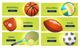 Sports balls and equipment icons of gaming accessories. Football, basketball, tennis, baseball, rugby, voleyball vector banners. Creative sport games concept Royalty Free Stock Images