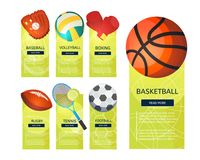 Sports balls and equipment icons of gaming accessories. Football, basketball, tennis, baseball, rugby, voleyball vector vertical banners. Creative sport games Royalty Free Stock Image