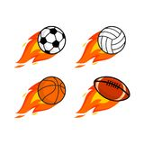 Sports balls with a fiery train royalty free illustration