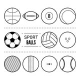 Sports balls for football, basketball, tennis. Linear black and white icons of equipment. Vector Royalty Free Stock Photo