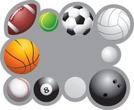 Sports balls frame. Border made up of sports balls Royalty Free Stock Photos